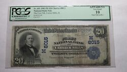 20 1902 Carrier Mills Illinois Il National Currency Bank Note Bill Ch. 8015