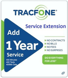 Tracfone Airtime/service Extension 1 Year/365 Days + 400mins
