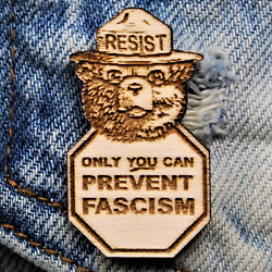 Smokey The Bear Only You Can Prevent Fascism Resist Wood Hat Pin | Alt Us Nation