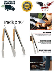 Omg2 Pcs 16 Safe Barbecue Tongs Stainless Steel Oak Wood Bbq Premium Grill
