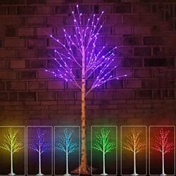 Lit Colorful Led Birch Tree Light Lighted Colors Changing 6Ft 120Led