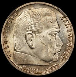1938-g Germany 5 Mark Reichsmark Silver Coin - Ngc Ms 63 - Km 94