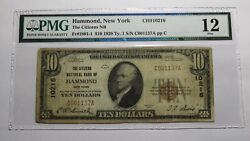 10 1929 Hammond New York Ny National Currency Bank Note Bill Ch. 10216 F12 Pmg