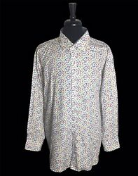 🔴Bugatchi Bicycle PRINT ALL OVER men's Multicolored Long Sleeve Button Shirt 2X $33.91