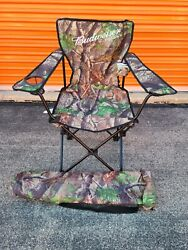 Budweiser Beer Outdoors Hunting Northwoods Chair And Tab With Cooler New