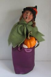 Byers Choice Carolers Witch With Pumpkin 13 Tall Ex Condition