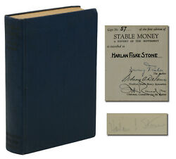 Stable Money Irving Fisher Signed First Edition 1st 1934 Harlan Fiske Stone