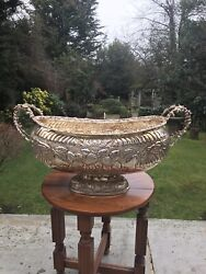 Antique Rare Size Silver Plated White Metal Super Large Giant Bowl Centerpiece