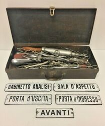 Antique Medical Surgical Tools With Old Suitcase And 5 Plaques Military Doctor