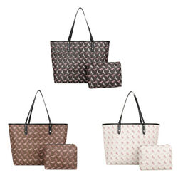 2pcs Set Retro Horse Pattern Shoulder Bags Women PU Leather Clutch Handbags $21.24