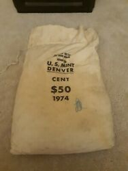 1974 D Mint Sewn Bag Of 5000 B.u. Lincoln Cents Copper From Ammo Box Hoard