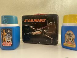 Star Wars Metal Lunchbox Original 1977 King Seely Red Clasp And Handle