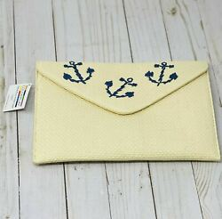 Echo Beach Straw Blue Anchors Have Fun With Color Beautiful Makeup Bag $13.59