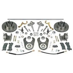Chrome Steering/brake Kit-spindles/dropped Arms-ford 46 Axle 5 On 4.75