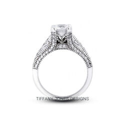 1.40ct I-si1 Round Natural Certified Diamonds 14k Vintage Style Sidestone Ring
