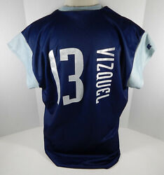 1999 Cleveland Indians Omar Vizquel 13 Authentic Navy Jersey Tatc 52 Russell