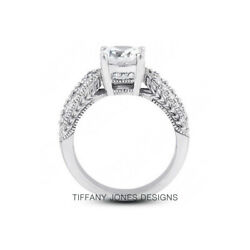 1ct D Si2 Round Natural Certified Diamonds 18k Vintage Style Side-stone Ring