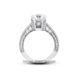 1 3/4ct I Si1 Round Natural Diamonds 14k Vintage Style Side-stone Ring