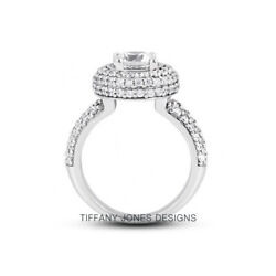 2.17 Ct H-si1 Round Cut Natural Certified Diamonds 950 Pl. Halo Side-stone Ring