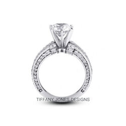2 1/4ct I Vs2 Round Natural Diamonds 950 Pl. Vintage Style Side-stone Ring