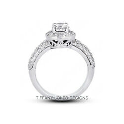 1.31 Ct G-si1 Round Cut Natural Certified Diamonds 950 Pl. Halo Side-stone Ring