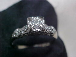 Antiquedeco1920and039s Natural Diamond Ring 14k White Gold Sz7.75 Buy Now