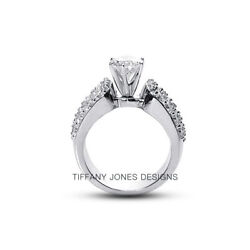 2 3/4 Ct G Vs2 Round Cut Natural Certified Diamonds 14k Gold Side-stone Ring