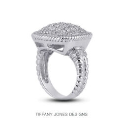 1 1/2 Ct F Vs1 Round Cut Natural Certified Diamonds 14k Gold Cocktail Ring