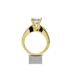 3/4ct G Si1 Round Natural Diamond 18k Vintage Style Solitaire Engagement Ring