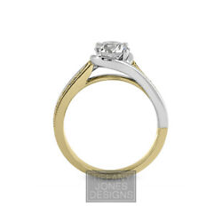 0.64 Ct G-si2 Coupe Ronde Terre Extrait Certifiandeacute Diamants 18k Or Side-stone Ring