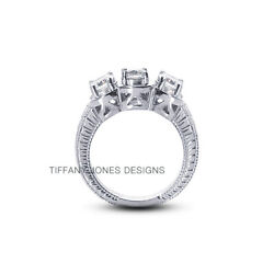 0.85ct H-si1 Round Natural Diamonds 950 Pl. Vintage Style Engagement Ring