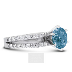 1.82 Ct Blue Si1 Round Cut Natural Certified Diamonds 14k Gold Side-stone Ring
