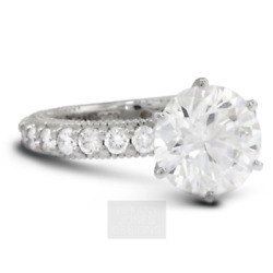 2 1/2 Ct D Si1 Round Cut Natural Certified Diamonds 14k Gold Side-stone Ring