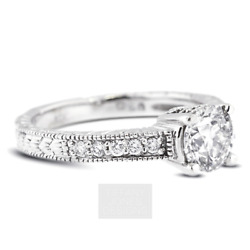 1ct G Vs2 Round Natural Certified Diamonds 18k Vintage Style Side-stone Ring
