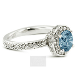 1.82ct Blue Si3 Round Natural Certified Diamonds 18k Gold Halo Side-stone Ring