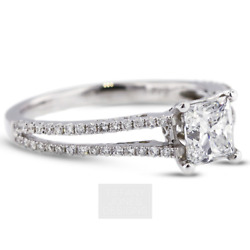 1 1/2 Ct D Si1 Princess Cut Natural Certified Diamonds 18k Gold Side-stone Ring
