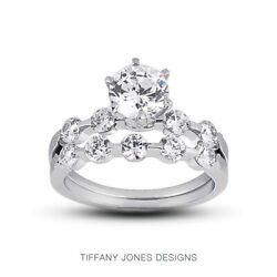 0.80ct I-si1 Round Natural Certified Diamonds 18k Classic Engagement Ring Set