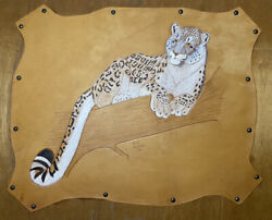 🐆leopard Ooak Handcrafted Leather Wall Art Exotic Animal Decor 25andrdquox19andrdquo 1984