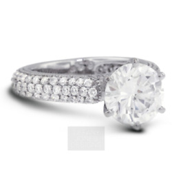 1.92 Ct F-vs2 Coupe Ronde Terre Extrait Certifiandeacute Diamants 14k Or Side-stone Ring