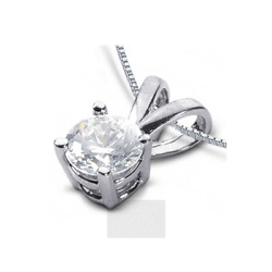 1 1/4ct I Si2 Round Natural Certified Diamond 950 Pl. Classic Solitaire Pendant