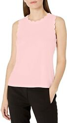 Kasper Womenand039s Cap Sleeve Scallop Trimmed Scoop Neck Knit Cami