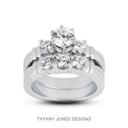 2.11ct D-si1 Round Natural Diamonds 14k Vintage Style Ring With Wedding Band