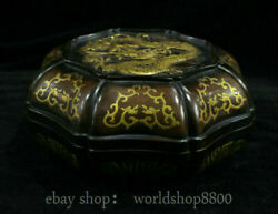 8 Collect Old Chinese China Red Copper Gilt Dynasty Palace Dragon Box