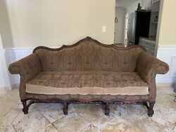 Old Hickory Tannery Antique Style Louis Xiv Sofa Paisley And Leather Patchwork