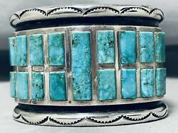One Of The Best Vintage Navajo Turquoise Channel Sterling Silver Bracelet