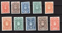 Chile Tax Stamp 1878 Full Set Proof On India Paper