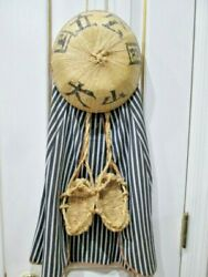 Unique Asian Chinese Wall Art Straw Hat Shoes And Clothes W/writing Wall Hanging