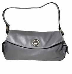 Brand New Marc Jacobs Women#x27;s Push Lock Flap Over Leather Hobo Handbag Gray $149.95