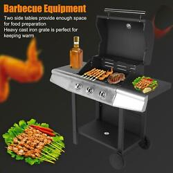 Lpg Propane Gas Bbq Grill Machine Tool 3 Main Lid Stainless Steel Home