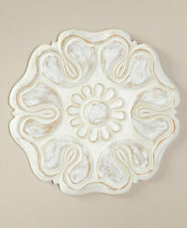 16quot; Wooden Carved Wall Flowers Home Décor White Gardenia